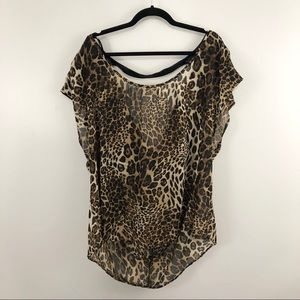 Torrid Faux Leather Caged Leopard Print Top
